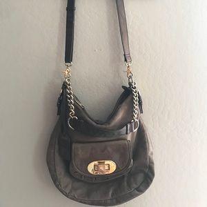 Badgley Mischka Brown Leather Shoulder Bag